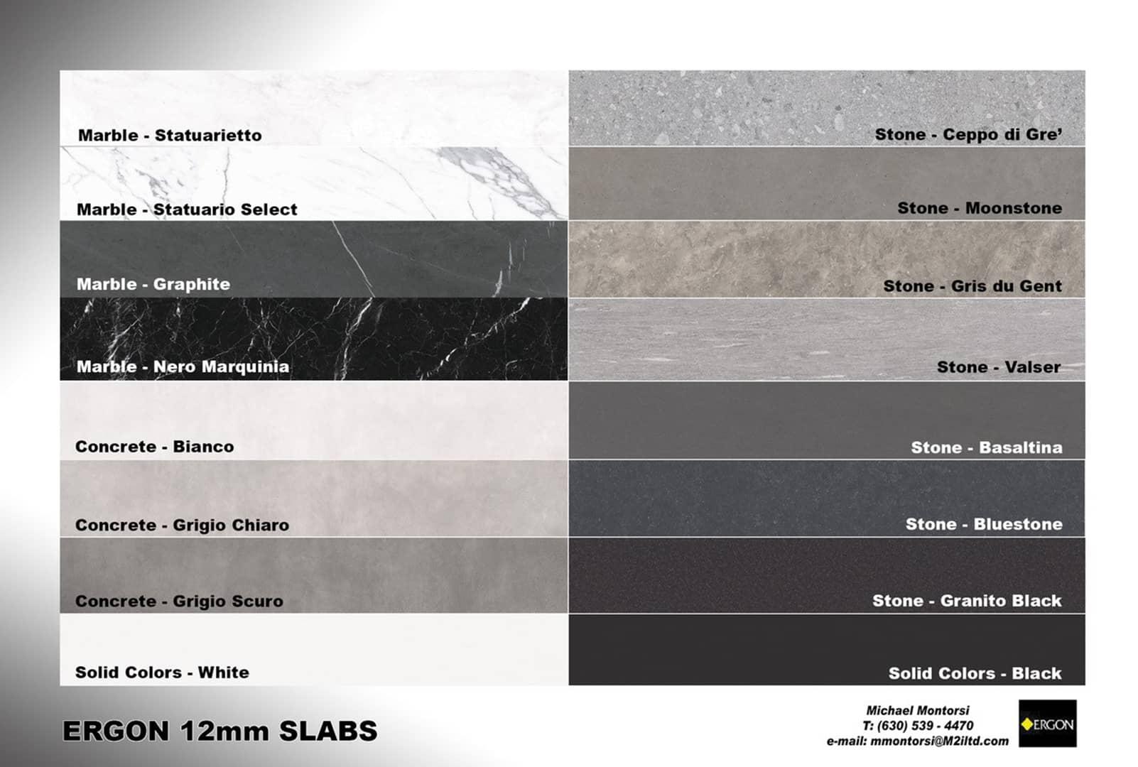 Ergon Slabs 12mm Countertops Colors